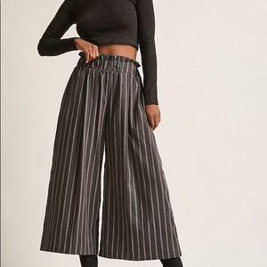 Grey Pinstripe Gaucho Pants